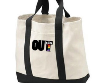 OUT is in USA Tote Bag, Rainbow Pride, Canvas bag