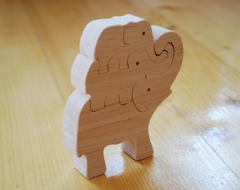 Elephants Puzzle Wooden elephants Wood animals Jigsaw puzzle  Wooden handmade toys Eco friendly toy Waldorf toy