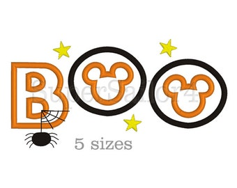 Boo applique design, Halloween applique design, Mickey applique design, Boo Halloween applique