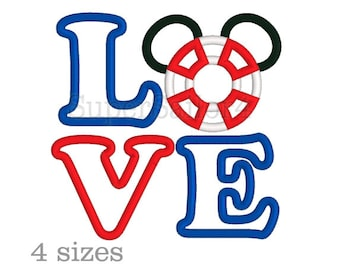 Mouse Sailor Applique, Love Applique design, Mickey applique design, Cruise applique