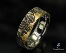 7mm Unique Mens Wedding band , Rustic Wedding Ring, Men's Wedding Band, Mens Engagement Ring,  Mens Wedding Ring, 18K Gold Wedding Band