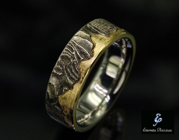 7mm unique mens wedding band rustic wedding ring mens like this item junglespirit Images