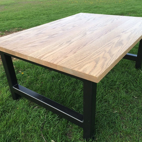 Solid Stainless Steel Coffee Table: Coffee Table Solid Red Oak And Steel H Leg By RussBuilders