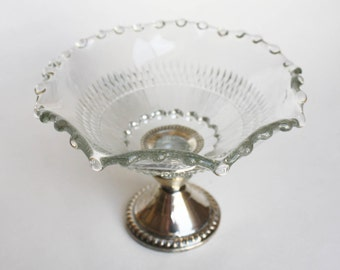 Vintage Silver Overlay Glass Dish Grape Vine Design Candy