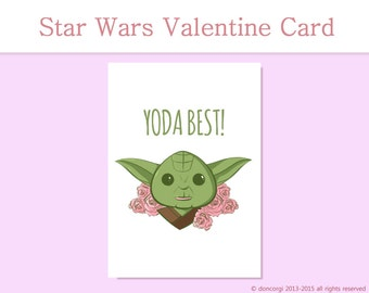 Yoda Best Valentine's Card - Star Wars Inspired Greeting Card, Printable Card, Love Card INSTANT DOWNLOAD