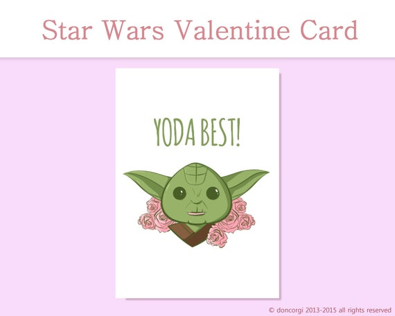 Elegant Star Wars Greeting Card | Yoda Best | Printable Card | Love Card Gifts For  Her | Gifts For Him | Printable Valentines Card INSTANT DOWNLOAD