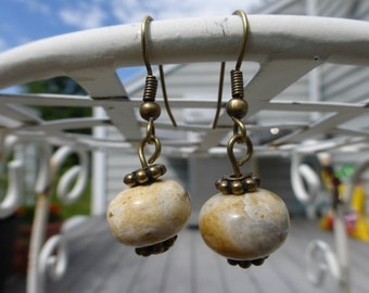 8x12 Ocean Jasper dangle earrings // antique brass ear wire