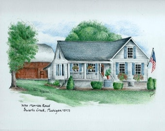 Custom House Portrait / House Drawing / House Illustration / house painting / farmhouse drawing