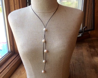 Pearl lariat necklace; Greek leather; sliding pearl lariat; pearl leather jewelry