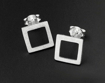 Hip to be Square 925 Brushed Sterling Silver Earrings by How I Wonder