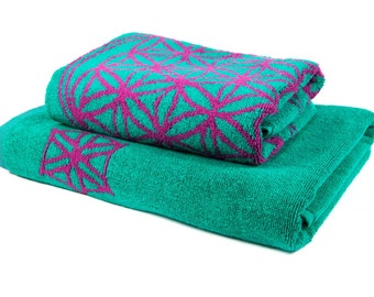 FREE SHIPPING Bohemian Towels Set Bath and Beauty Bathroom Accesories Sacred Geometry Grid Flower of Life Spa Gift Set