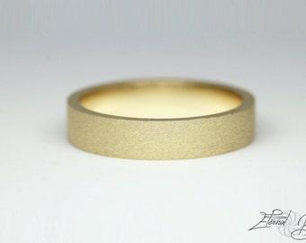 14k Solid Yellow Gold Wedding Band, Matte Wedding Band, Brushed Wedding Band, 3mm, Matte Finish Flat Band