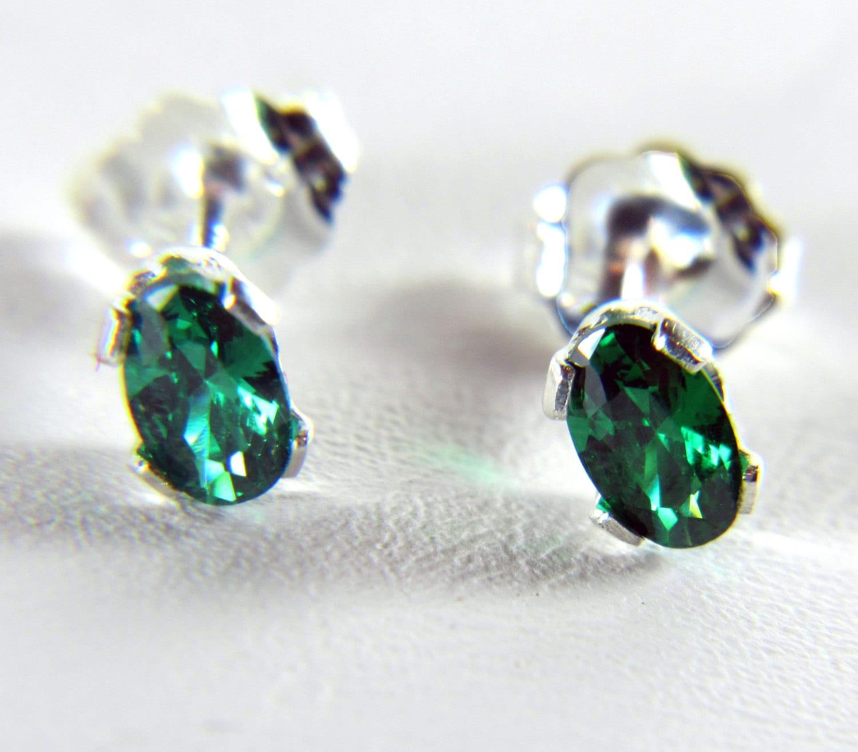 emerald stud earrings sterling silver studs cz emerald