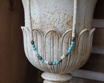 Hidden Message Necklace--Imitation Howlite and Turquoise