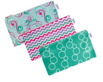Sweet Set of 3 Cloth Snack Bags with Zippers