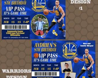 Golden State Warriors Basketball Birthday Party Invitations Printable Uprint Digital Printed Options * 4 Designs * READ DESCRIPTION*