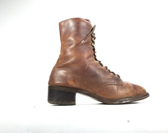 10 M - Nine West Women's Ankle Boots Lace Up Brown Leather