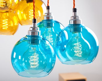 Atom Turquoise Glass Triangle Light Kit
