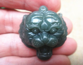 Jade tiger etsy natural green jade tiger head pendant lucky charms pendants mozeypictures Images