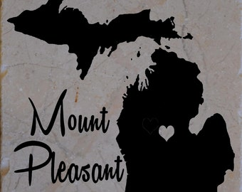Set of 4 Mt Pleasant Michigan Coaster Free Shipping