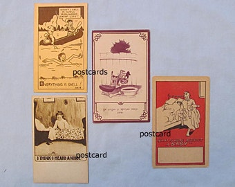 Four Vintage Comic Postcards – Boy at Camp, Little Girl, Father and Baby, Happy Dog
