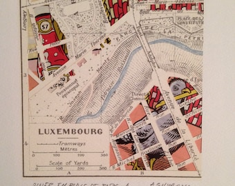 City Map - Luxembourg - Paper Cut - Collage - Hand Made
