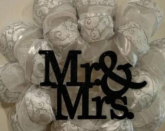 White Deco Mesh Mr. & Mrs. Wedding Wreath. Free Shipping.