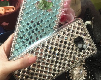 Bling Assorted Sparkly Blue Clear Gems Chic Crystals Rhinestones Diamonds Gemstones Fashion Lovely Hard Cover Case for Various Mobile Phones
