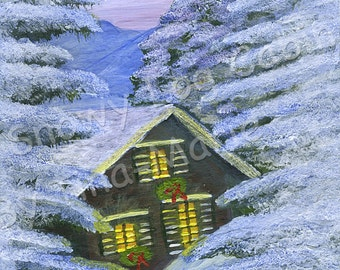 SNOWY LOG CABIN - Original Painting