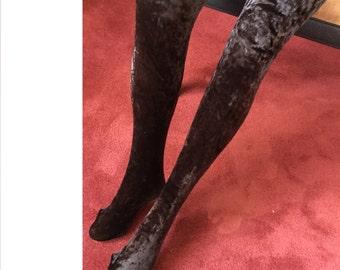 Velvet Leggings with Feet  Made in Italy by JoannaTrojer  Leggings in Crushed Velvet and Lycra Strech Luxurious Velvet Tights for Winter