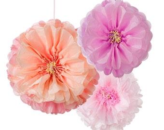 3 Blush Flower Pom Poms - Pastel Paper décoration for wedding - Giant paper flower