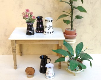 Modern metal flower pots, glazed and decorated, OOAK, handmade 1/12 scale