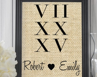 Roman Numeral Sign | Personalized Gift for Couple | Wedding Date Sign | Wedding Gift | Bridal Shower Gift | Rustic Decor | Burlap Print