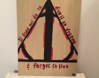 Harry Potter Deathly Hallows Hand Painted Canvas
