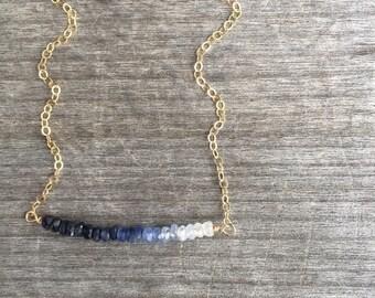 Ombre Blue Sapphire Bar Necklace -Sapphire Necklace- Bar Necklace - Dainty Necklace - Petite Necklace - Bridesmaid Necklace - Ombre Necklace