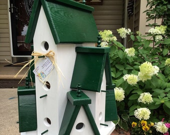 Beautifully Handcrafted XTRA Large Birdhouse Condo Outdoor Bird House! 360  Degree Views!