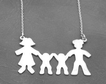 Silver family necklace / bracelet