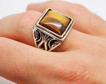 Tiger eye silver men's ring