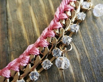 Pink & Gold Braided Chain Bracelet