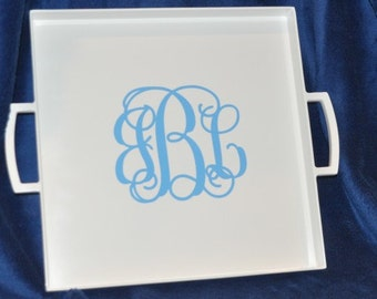 White Serving Tray - Monogram Tray - Personalized Wedding Gift - Monogram Gift - Personalized Gift