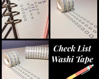 Checklist, Washi Tape, Skinny 5mm, Circles, Hearts and Squares