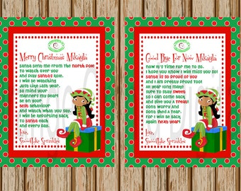 African American Girl Elf Hello Letter- Elf Goodbye Letter- Both Letters Included- Personalized Elf Letter- 8.5 x 11 size- Print Your Own