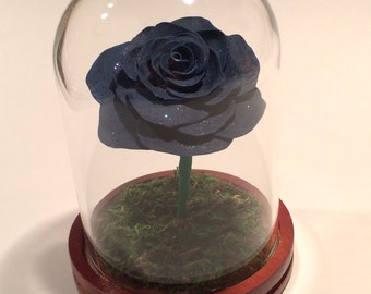 Dark Blue Rose with Glitter, Beauty and the Beast Rose, Beauty and the Beast wedding, Goth Rose, Blue Rose, Fairy  tale Rose, Rose in Glass