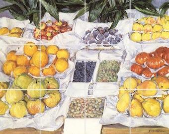 Fruit Displayed on a Stand Tile Mural Painting Back Splash Kitchen Home Decor Art