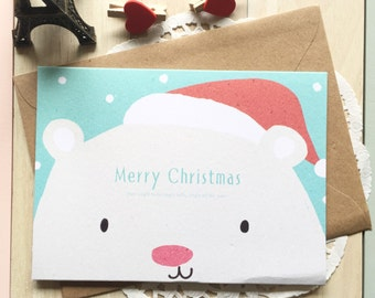 KAWAII Christmas Card/BlankTextured Card & Kraft Envelope/1 PC/Polar Bear