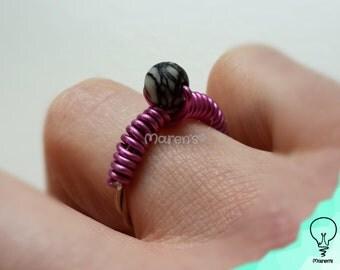 Guitar string ring Pink - 16mm - black network stone