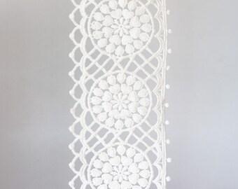 2001_Off white ribbon lace 9 cm, Delicate lace trim, White lace border, Wedding lace ribbon, White floral lace, Floral lace border_1.8 m.
