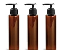 3 Amber 4 Oz Plastic Bottles 120ml MODERN PET Cylinder w/ Lotion Soap Pump SLEEK High End Private Label Packaging Spa Lotion Creams Haircare