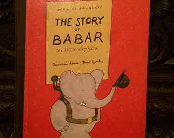 """Vintage Book Children's """"The Story of Babar The Little Elephant""""  Circa 1933"""
