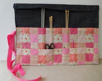 Large knitting needle roll holder